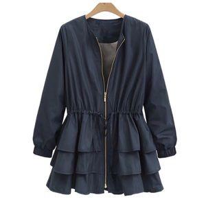 Jackets & Blazers - Black Silky Satin Layered Ruffle Jacket C79